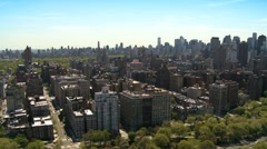 Aerial view of the Urban Upper West Manhattan and Central Park, NY, USA Stock Footage