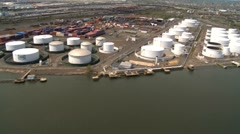 Helicopter Aerial view of Oil and Gas Storage tanks, New Jersey, NY, USA Stock Footage