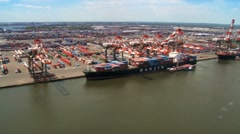 Aerial view of Container Port and Harbor, New York State, North America, USA Stock Footage