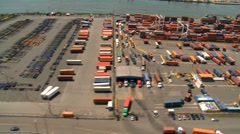 Aerial view of Container Port and Harbor, New York State, America, USA Stock Footage