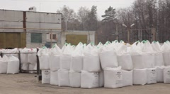 Bags of fertilizer Stock Footage