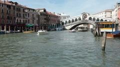 Venice Grand Canal Rialto Bridge boats P HD 1120 Stock Footage