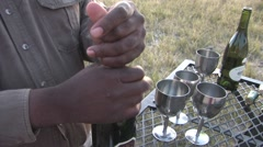 Opening Champagne on African Safari Stock Footage
