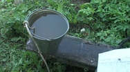Stock Video Footage of well water bucket