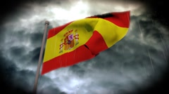 Facing Bad Weather: Spain Flag (HD) Stock Footage