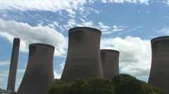 Stock Video Footage of Cooling Towers Against Blue sky with clouds - timelapse