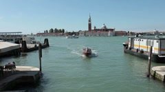 Venice water taxi San Giorgio Maggiore P HD 1045 Stock Footage