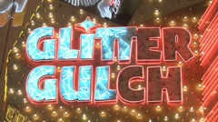 Glitter Gulch neon sign Stock Footage