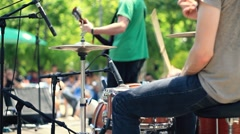 Drummer playing on percussion in rock concert, steadicam shot HD Stock Footage