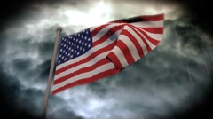 Facing Bad Weather: USA Flag (HD) Stock Footage
