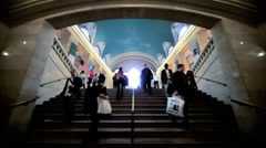 Stock Video Footage of Stairway into Grand Central Station, Manhattan, NY, USA