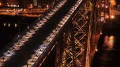 Dom Luis I bridge at night Stock Footage