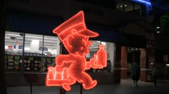 Red neon Andy Anderson Fremont Street Las Vegas Stock Footage