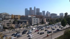 LA freeway traffic smog - stock footage