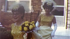 Beautiful Women Bridesmaids Going Wedding Day 1960s Vintage Film Home Movie 285 Stock Footage