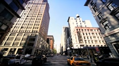 Point of View driving towards the Flatiron Building, Manhattan, NY, USA Stock Footage