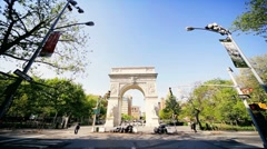 Point of view Driving past the Dewey Arch Midtown Manhattan, NY, USA Stock Footage