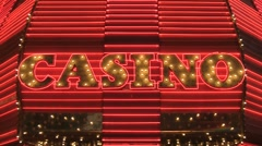 Flashing Neon Casino Sign Stock Footage