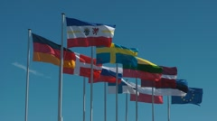 Flags of the baltic states Stock Footage