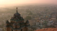Amazing sunset over Indian temple and city Stock Footage