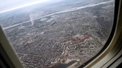View from plane city Stock Footage