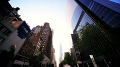Point of View driving towards Empire State Building, NY, North America, USA Stock Footage