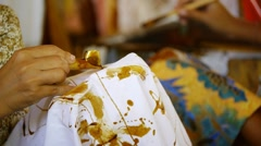 Making batik 4 Stock Footage