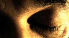 Man opening eye Stock Footage