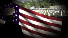 Soldier Salute US Flag Cemetery in the back - stock footage