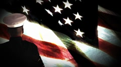US Soldier Salute in front of US Flag Stock Footage