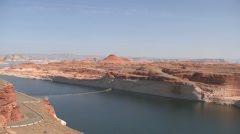 Lake Powell Glen Canyon Dam Pan Stock Footage