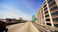 Point of view driving on elevated Freeway New York State, America, USA Stock Footage
