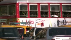 Double decker bus in Mumbai Stock Footage