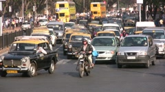 Busy intersection, heavy traffic, Mumbai, India, world cities Stock Footage