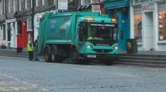 Garbage Rubbish Truck Lorry On The royal Mile Edinburgh Scotland UK Stock Footage