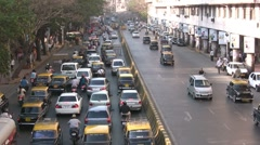 Traffic jam on a busy road in Mumbai Stock Footage