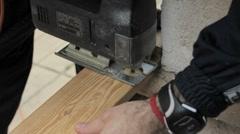 Electric Saw Cutting Wood 1080p Stock Footage