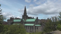 The Scottish Gothic Glasgow Cathedral At The Necropolis Graveyard Stock Footage