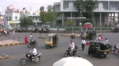Intersection in mid sized Indian city Stock Footage