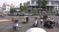 Stock Video Footage of Intersection in mid sized Indian city