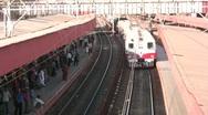 Train arriving at Mumbai station Stock Footage