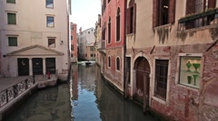 Venice power boats narrow canal P HD 1226 Stock Footage