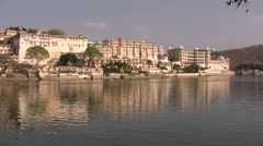 Reflection of Udaipur palace at late light, beautiful scene in India - stock footage