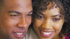 Close-up of African American couple kissing - stock footage