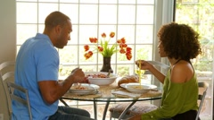 Couple eating dinner Stock Footage