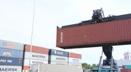 Stock Video Footage of Crane. Container. Logistics.