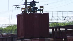 Logistics. Crane. Container. Train. Stock Footage