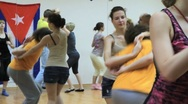 Lesson in the studio Latin American dancing. Stock Footage