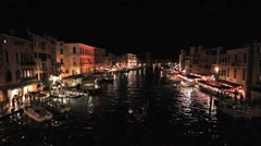 Venice Grand Canal night bright P HD 1155 Stock Footage