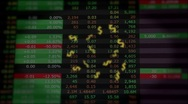 Stock Video Footage of Dollars flying out of stock  market screen